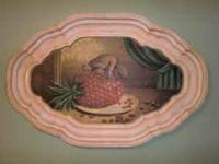 Unique oval shaped tray with wooden painting inside of
