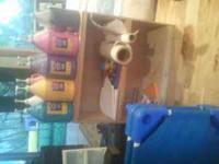 School gallon paints, rolls of white butcher paper,
