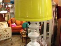 "Pair 1960's White Lamps with Yellow Shades. 35"" Tall."