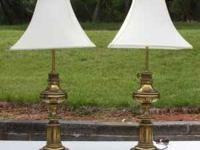 Pair Brass Lamps w/3 way switches. $45.00 OBO Approx