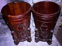 Pair Decorative Wooden Carved Umbrella/Plant Stands -