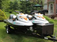 Pair of 2008 Sea-Doo RXT 255's on tandem Zieman trailer