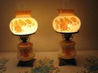 These beautiful antique-style table lamps are patterned