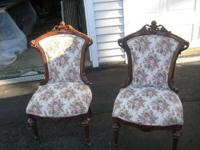 Impeccable quality pair of Victorian parlor chairs.