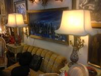"Pair of Asian Lamps with Fab Shades. 35"" Tall. $150."