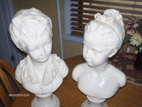 Antique boy and girl busts, sold as a pair. Seen on