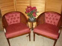 Pair of Cane Side Armchairs - Lovely Berry Red Color -