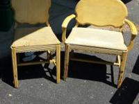 Pair of antique chairs. They need upholstery work done.
