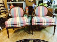 We are providing a pair of walnut french chairs. 27""