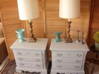 Pair of French Gray Painted Night Stands - 2 Drawers