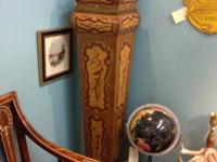 Pair of Gorgeous Wood Inlay Pedestals With Removable