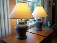 "Two lamps ~28"" high with shades. Shades have some minor"