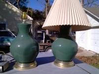 This is a pair of matching glass lamps, color is green.