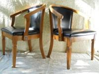 Pair of vintage Asian influenced barrel back armchairs