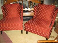 Gorgeous Pair of Red Mid Century Modern Upholstered Arm