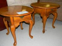 Featured Item Pair of Oval Oak Queen Anne End Tables--