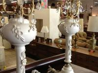 1960's white and gold porcelain table lamps. Nice