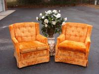 Pair of Retro Orange Crushed Velvet Club Chairs - Great