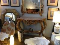 Pair of Rococo Wall Consoles With Deep Marble Tops From