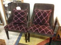 Pair of Sleek Modern Armchairs Pink Stitching Brown