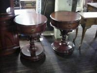 Beautiful pair of solid mahogany end tables made in the