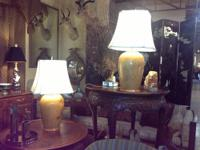 "Pair of Solid Wood Turned Lamps 27"" Tall $350 Can be"