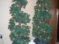 Pair of Spiral Topiary Trees, Prelit. $75. For more