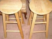 "Pair of 24"" light wood colored stools James  E-mail or"