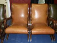 Pair of new tan leather chairs in perfect condition.