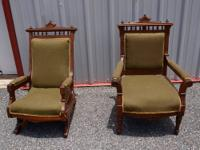 A pair of Victorian Chairs, one rocker and one side