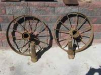 Steel wagon wheels great for yard decoration or