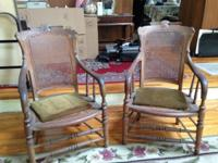 For Sale: Pair of antique carved wood chairs with cane