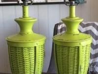 Gorgeous pair of refinished lime green plug in table
