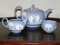 Pale blue Wedgwood japerware tea set. Marked Wedgwood
