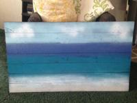 Big ocean picture, hand repainted on old pallet wood.