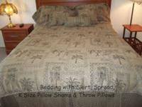 Used Palm Tree King Size Bedding Ensemble This FULL set