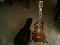 like new washburn parlor guitar with tons on inlay