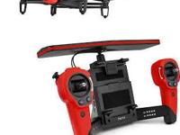 The red BeBop Drone Quadcopter with Skycontroller