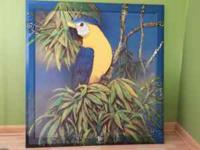For Sale : Colorful PARROT PAINTING with frame. Vibrant