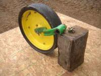 Gauge wheels with arm, $50.00 each. Seed Boxes, $60.00.