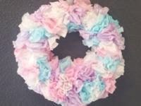This handmade paper wreath was dip dyed by hand. Would