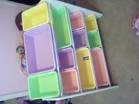 pastel storage bins/shelf...12 bins - 3 shelves...no