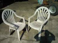 Two sturdy plastic patio chairs for just 5 bucks. They