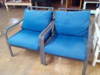 We have 2 nice patio chairs with cushions for sale for