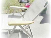 4 LIKE NEW FOLDING RECLINING PATIO CHAIRS, BEIGE WITH