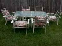 This is a six seater patio set. Glass table. Has a