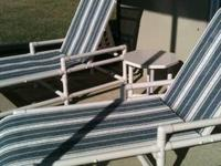 Pool Patio Furniture (Blue and White) - 10 piece set,