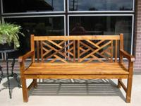 This bench is so pretty. Made from solid grade a teak.