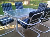 Patio Set For Sale 6 large Chairs with Cushions Glass