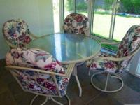 "Patio Set - Large 48"" circumference glass table with"